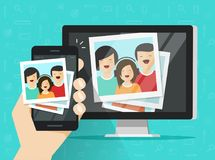 Smartphone streaming photo cards on computer vector illustration, flat cartoon mobile phone connected to pc wirelessly. Showing photos, photography multimedia Royalty Free Stock Photography