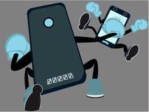Smartphone strid Boxas kamp av mobiltelefonplattformar som marknadskonkurrens på plakat stock illustrationer