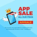 Smartphone with striped store awning and wings for e-commerce super app sale, voucher discount banner promotion. mobile shop conce stock illustration