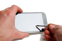 Smartphone stylus touch Royalty Free Stock Photo