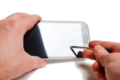 Smartphone stylus touch Stock Photos