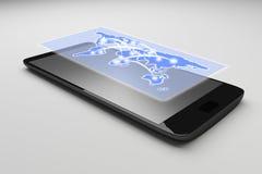 Smartphone su priorità bassa bianca Lo Smart Phone mobile nero, 3d rende Fotografia Stock Libera da Diritti