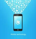 Smartphone sur le bleu Images libres de droits