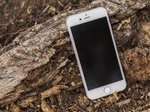 Smartphone sur un tronc d'arbre Images libres de droits