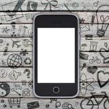 Smartphone sur une vieille surface en bois Images libres de droits