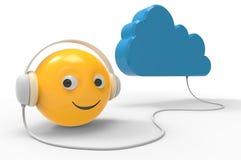 Smartphone surft auf Wolke im Himmel Stockbilder