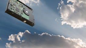 smartphone surft op wolk in hemel Stock Foto
