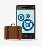 Smartphone and suticase to travel design. Smartphone gears and suitcase icon. Travel trip vacation and tourism theme. Colorful design. Vector illustration Stock Photo