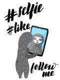 Smartphone sveglio della tenuta di bradipo del fumetto illustrazione di stock