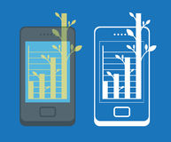 Smartphone and symbol of growth. Stock Images