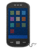 Smartphone symbol of knitted fabric isolated on wh Stock Photos