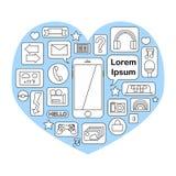Smartphone symbol med funktioner och applikationer Arkivbild