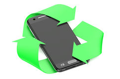 Smartphone with symbol recycle Stock Photos