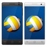 Smartphone volleyball Stock Photos