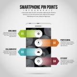 Smartphone szpilka Wskazuje Infographic Zdjęcia Stock