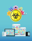 Smartphone and tablet infected virus Royalty Free Stock Photo