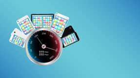 Smartphone and tablet with internet speed meter Stock Photos