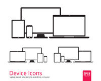 Smartphone, Tablet, Laptop and Desktop Computer Icons. Device icons smartphone, tablet, laptop and desktop computer. Set of flat device icons isolated on white Royalty Free Stock Images