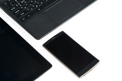 Smartphone, tablet and laptop Stock Photography