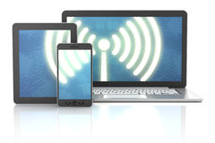 Smartphone, tablet and laptop wireless connection Royalty Free Stock Photo