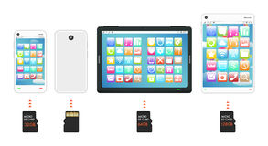 Smartphone and tablet with Micro SD memory card Royalty Free Stock Photography