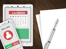 Smartphone and tablet office backgroun Stock Images