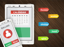 Smartphone and tablet office background Stock Images