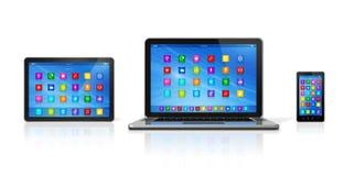 Smartphone, tablet pc de Digitas e portátil ilustração stock