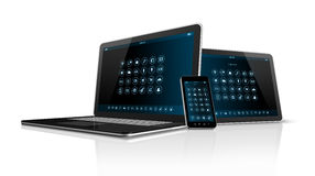 Smartphone tablet pc and Laptop Stock Image