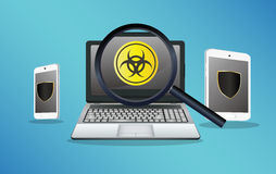 Smartphone and tablet protected from virus and laptop found virus Stock Image