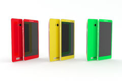 Smartphone, tablet. Red, yellow, green. White background. Smartphone, tablet, camera phone. The illustration shows a few modern, thin, bright smartphone or Stock Illustration