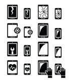 Smartphone, Tablettenreparatur - gebrochene Schirmikonen eingestellt Lizenzfreies Stockbild