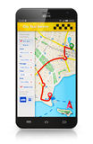 Smartphone with taxi service internet application Royalty Free Stock Image