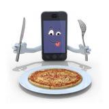 Smartphone tecknad film framme av en pizza Arkivfoto