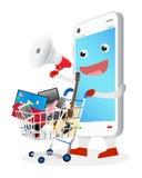 Smartphone tecknad film med megafonen och shoppingvagnen Arkivbild