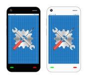 Smartphone tecknad filmshopping på storesmartphonen med skruvmejselskiftnyckeln och kugghjulet reparerar logo Royaltyfri Foto