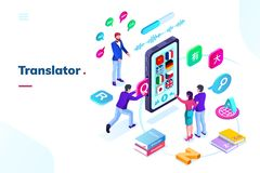 Smartphone, teléfono con el traductor en línea de la lengua ilustración del vector