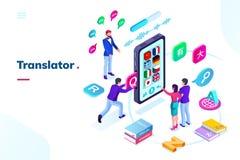 Smartphone, telefono con il traduttore online di lingua illustrazione vettoriale