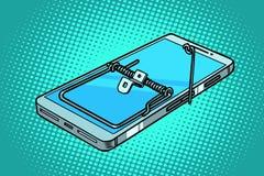 Smartphone-telefoonmuizeval val en gevaren royalty-vrije illustratie
