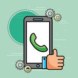 Smartphone telephone hand like customer service. Vector illustration vector illustration