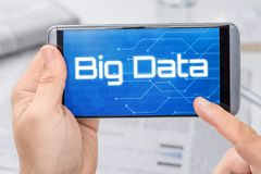 Smartphone with the text Big Data. On the display stock image