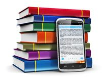 Smartphone with text and stack of color books Stock Image