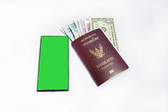Smartphone &thailand Passport to travel Royalty Free Stock Images