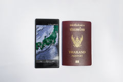 Smartphone & thailand Passport travel to japan Royalty Free Stock Photos