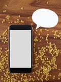 Smartphone, thought bubble, voice command Royalty Free Stock Photo
