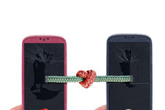Smartphone tied love Royalty Free Stock Image