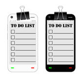 Smartphone with to do list on a screen Royalty Free Stock Photography