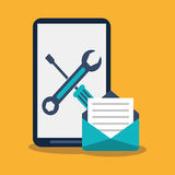 Smartphone tools and envelope design. Smartphone tools and envelope icon. Social media marketing communication theme. Colorful design. Vector illustration royalty free illustration