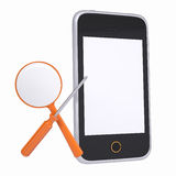 Smartphone and tools for repair and diagnostics. Isolated render on a white background Stock Photos