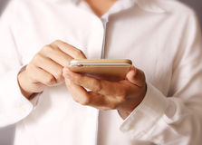 Smartphone touch screen social networking Royalty Free Stock Photo